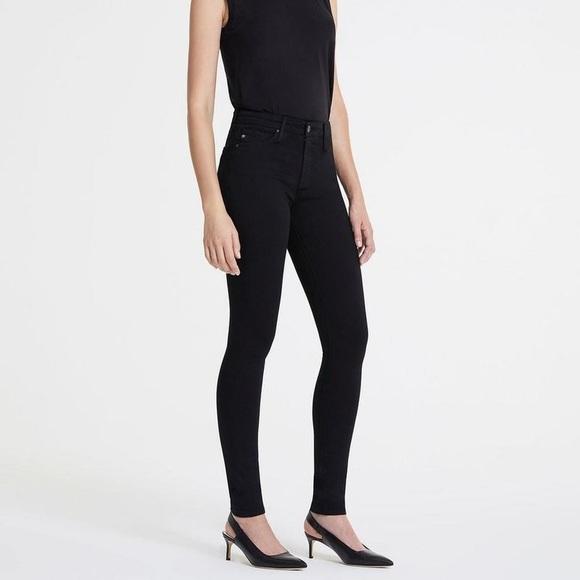 AG Farrah High Rise Black Skinny Jeans 28